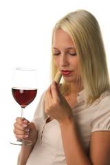Frau mit Rotwein