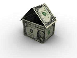 One dollar bills shaped like a house