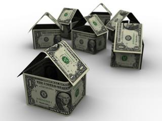 Dollar bills shaped like houses