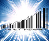 Barcode with integrated arrow graph going up poster