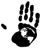 shape of earth inside the print on a persons hand poster