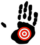 hand print with target symbol - getting bullied, specific goal poster