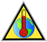 yellow triangular sign warning of global warming poster