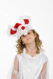 Little girl in carnival wig poster