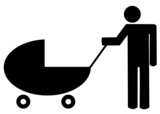 father pushing baby buggy or stroller - illustration