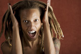 Shocked African American Woman with Hair in Dreadlocks poster