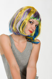 Young woman in carnival wig poster