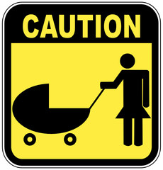 yellow and black caution sign - parents crossing with strollers