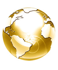 golden globe on a solid white background