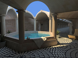luxury spa hotel interior (3D rendering)