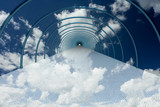tunnel in clouds. 3D image. poster