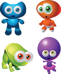 cute cartoon baby aliens in blue, red, green, purple colours