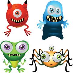 Halloween cute baby monsters, red, green, blue, orange