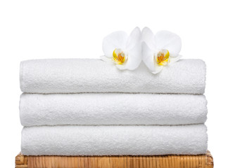 Fresh Towels with white Orchids
