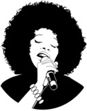 vector illustration of an afro-american jazz singer poster