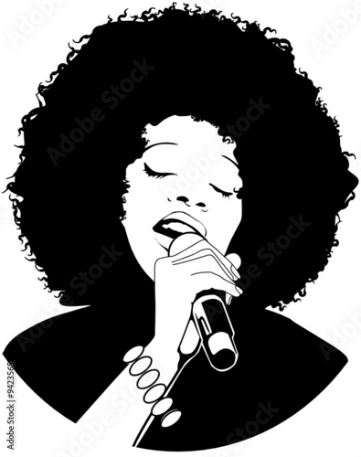 vector illustration of an afro-american jazz singer