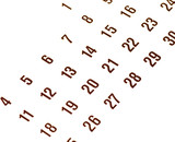 close up of thirty day calendar isolated on white.. poster