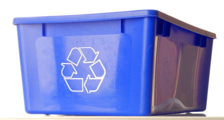 blue recycle bin isolated on white background..