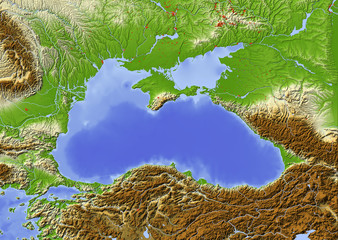 Black Sea. Shaded relief map, colored for elevation.