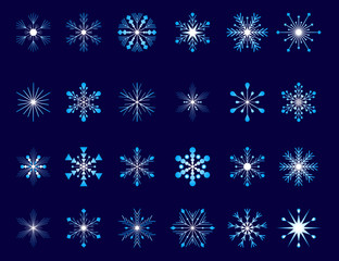 Collection of 24 snowflakes
