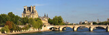France Paris - Panoramic city view of Seine embankment poster