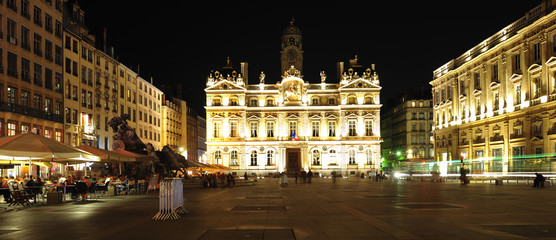 France, Lyon: night view of the town house