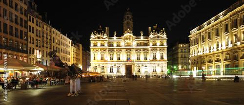 Leinwanddruck Bild France, Lyon: night view of the town house
