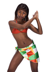 young african girl with bra and skirt casual dressed