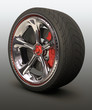Chromed wheel with red details. Exclusive design.