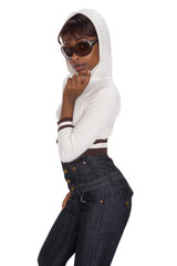 young african girl with small jacket and jeans, casual dressed