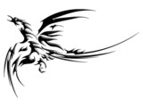 Phoenix fly tatoo isolated on white background poster