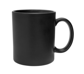 Black mug empty blank for coffee or tea isolated on white