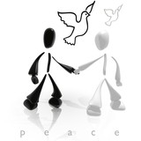 white and black peace poster