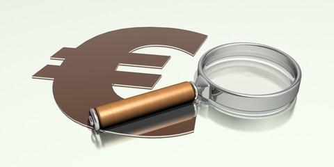 Lupe und Euro Zeichen