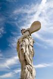 Classic Zephyrus statue over fantastic sky at Peterhof. poster