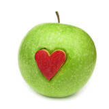 Fototapety Apple green with red heart