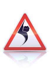 Panneau de danger tornade (reflet métal)