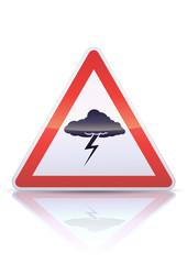Panneau de danger orage (reflet métal)