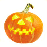 A scary old jack-o-lantern on white... poster