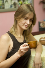 Drinking morning coffee