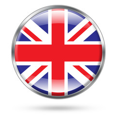 United kingdome flag button with clipping path