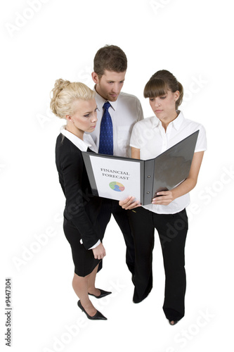 business people discuss report on white background