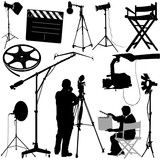 film objects and cameraman vector poster