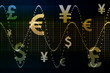 Blue Gold World Currencies Business Abstract Background
