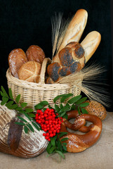 Basket filled with german bread and rolls