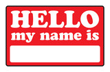 Blank name tags that say HELLO MY NAME IS.