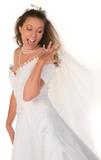 Happy Bride Gawking at Her Large 3 Carat Diamond  Wedding Ring poster