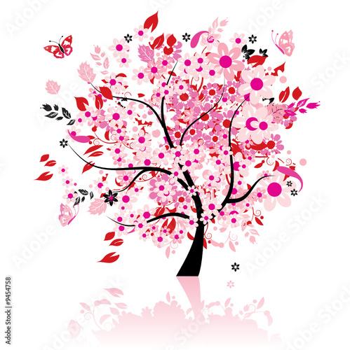 Fototapete kinderzimmer baum  Fototapete Abstrakt - Kunst - Baum - Blume - Pixteria
