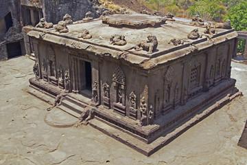 Ancient Hindu Rock Temple. Ellora, India