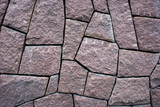 surface paved with grey granite tile slabs poster